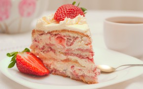 Wallpaper cake, cream, strawberry