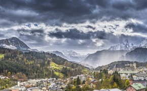 Picture Mountains, The city, Forest, Bayern, Alps, Landscape, Berchtesgaden