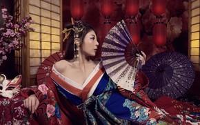 Wallpaper Asian, girl, fan