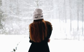 Picture winter, girl, hat, hair, back, coat