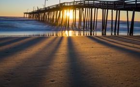 Picture sea, light, bridge, shore
