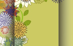 Picture flowers, texture, green background