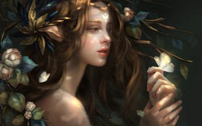 Picture look, girl, flowers, nature, butterfly, hair, fantasy, ears