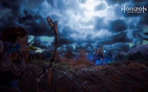 Picture The sky, Girl, Grass, Robot, The moon, Fur, Bow, Hunting, PS4 Pro, Horizon Zero Dawn, ...