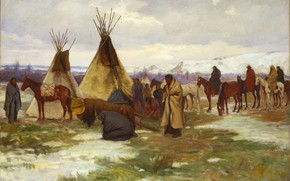 Picture wintering, Joseph Henry Sharp, of a Crow Chief, Burial Cortege