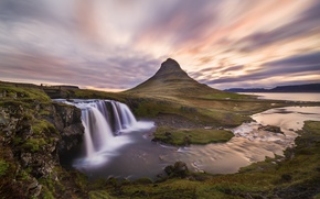 Picture excerpt, clouds, waterfalls, the sky, Iceland, mountain Kirkjufell, Kirkjufellsfoss