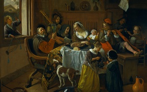 Picture people, oil, interior, picture, canvas, feast, genre, Ian Havickszoon Walls, Family Fun