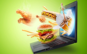 Picture background, food, laptop, screen, hamburger, hot dog, fast food