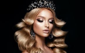 Picture diamond, crown, hairstyle, makeup, decoration, girl, Korabkova, earrings