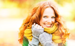 Picture autumn, girl, smile, background, mood, scarf, hairstyle, red, sweater, bokeh