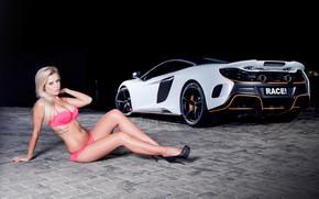 Picture auto, McLaren, blonde, Erotic, beautiful girl, against the machine