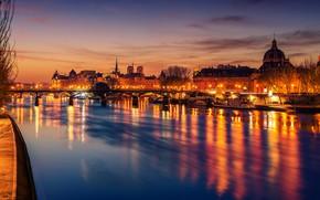 Picture the sky, trees, night, lights, river, France, Paris, home, lights, bridges, promenade