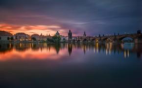 Wallpaper river, Czech Republic, Prague, the evening, lights, the city, bridge, surface, morning