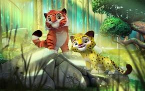 Wallpaper jungle, cartoon, Leo and TIG, animals, stone