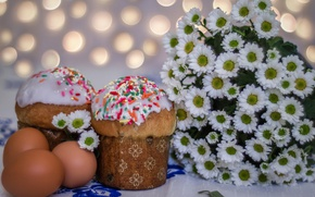 Picture flowers, eggs, spring, Easter, chrysanthemum, cakes, Sunday