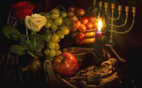 Wallpaper roses, grapes, fruit, candle, Apple, candle holder