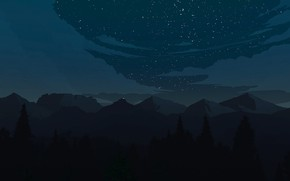 Picture Mountains, Night, Stars, The game, Forest, View, Landscape, Art, Campo Santo, Firewatch, Fire watch