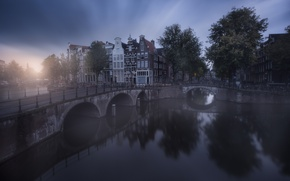 Picture the city, Amsterdam, channel, haze, Netherlands, bridges