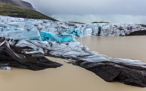 Picture ice, winter, sea, the sky, water, clouds, mountains, overcast, shore, ice, glacier, hill, ice, North, …