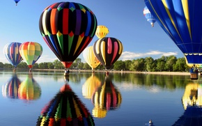 Picture the sky, lake, balloons