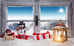 Wallpaper snowman, Xmas, New Year, gifts, snow, winter, Merry Christmas, lantern, window, Christmas, decoration, snow, window, ...