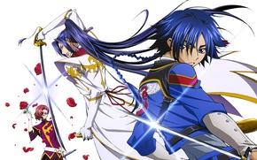 Picture katana, white background, braid, emblem, guys, long hair, military uniform, Renegade Akito, Akito the Exiled, …