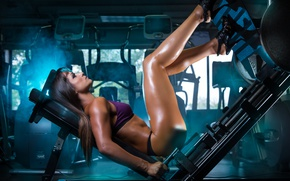 Picture girl, feet, fitness, the gym, trainer
