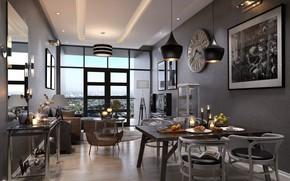 Picture design, furniture, interior, furnished, DINING & LIVING AREA