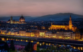Picture night, lights, Italy, panorama, Florence