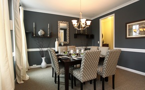 Picture table, chairs, interior, picture, mirror, chandelier, dining room, serving