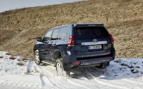 Picture the sky, snow, hill, SUV, back, Toyota, 4x4, Land Cruiser, the five-door