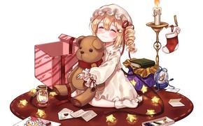 Picture letter, joy, box, figure, candle, sock, girl, white background, book, Mat, pajamas, stars, cap, art, …