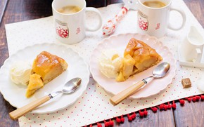 Picture apples, coffee, pie, Cup