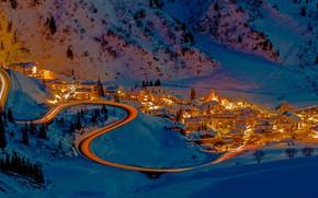Picture winter, night, lights, home, Austria, Alps, ski resort, Stuben