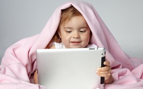 Picture child, girl, plaid, tablet