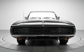 Wallpaper machine, classic, the front, Dodge Charger, black.