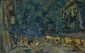 Picture night, lights, picture, the urban landscape, Konstantin Korovin, Vichy