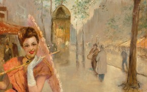 Picture PAL Fried, girl with umbrella, A Parisian Boulevard