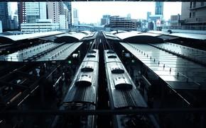 Picture building, station, station, Japan, trains, Japan, Osaka, Osaka
