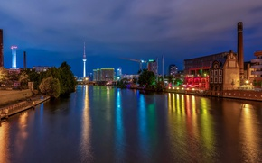 Picture night, lights, river, tower, home, Germany, promenade, Berlin