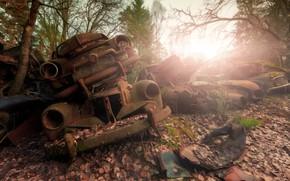 Wallpaper scrap, final destination, light, machine