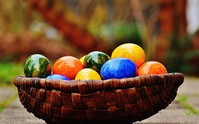 Picture basket, colorful, Easter, rainbow, Easter, eggs, decoration, Happy, the painted eggs