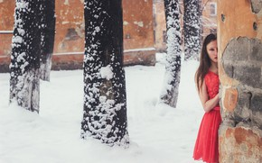 Picture girl, snow, wall, dress, Yevhen Seleznyov