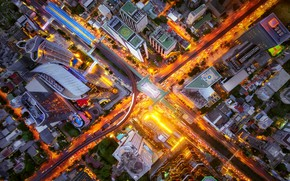 Picture light, the city, lights, the evening, crossroads, the view from the top, street