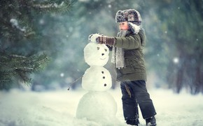 Picture winter, child, boy, snowman