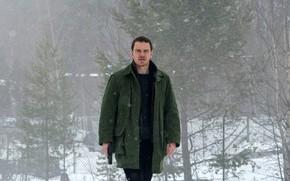 Picture winter, snow, trees, snowflakes, gun, frame, jacket, detective, crime, Michael Fassbender, Michael Fassbender, Snowman, The …
