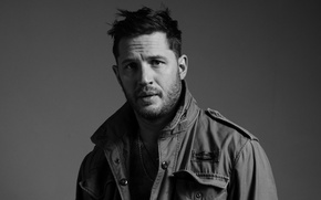 Wallpaper photo, background, portrait, jacket, actor, black and white, Tom Hardy, Tom Hardy, Esquire, Greg Williams, ...
