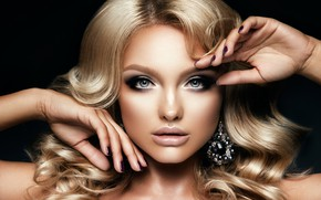 Picture look, girl, face, hands, makeup, hairstyle, blonde, decoration, blue eyes, earrings, manicure, curls hair, Korabkova