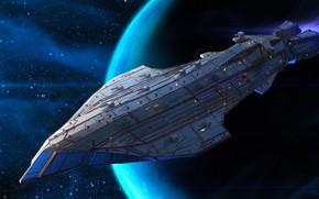 Picture space, planet, stars, spaceship, Kalarian Battleship Shark-Class