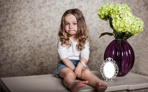 Picture flowers, mirror, girl, table, vase, child, hydrangea